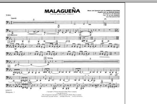 Malaguena - Tuba (Marching Band)