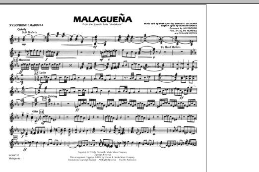 Malaguena - Xylophone/Marimba (Marching Band)