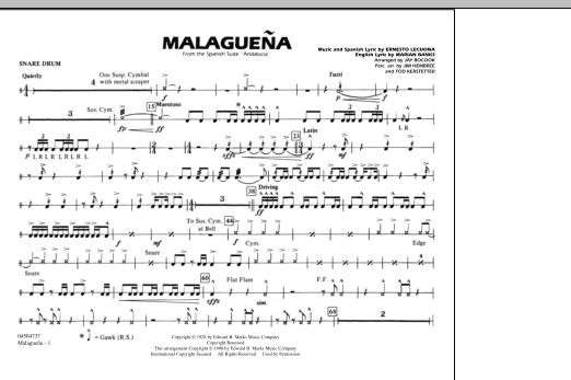 Malaguena - Snare Drum (Marching Band)