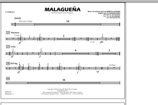 Malaguena - Cymbals (Marching Band)
