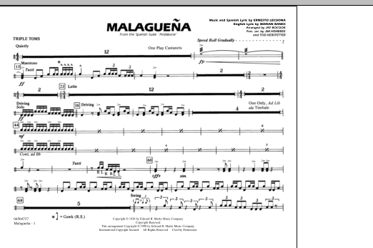 Malaguena - Triple Toms (Marching Band)