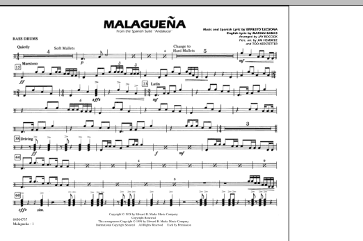 Malaguena - Multiple Bass Drums (Marching Band)