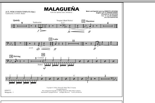 Malaguena - Aux. Percussion/Timpani (Marching Band)