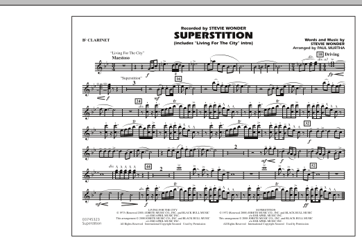 """Superstition (includes """"Living for the City"""" Intro) - Bb Clarinet (Marching Band)"""