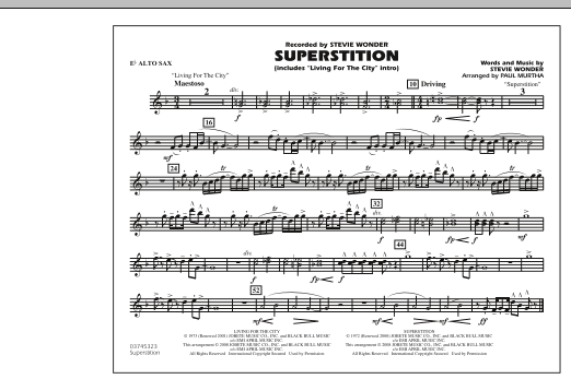 """Superstition (includes """"Living for the City"""" Intro) - Eb Alto Sax (Marching Band)"""