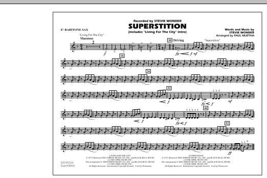 """Superstition (includes """"Living for the City"""" Intro) - Eb Baritone Sax (Marching Band)"""