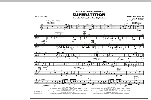 """Superstition (includes """"Living for the City"""" Intro) - 2nd Bb Trumpet (Marching Band)"""