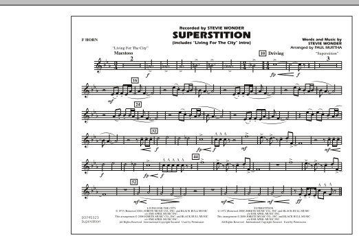 """Superstition (includes """"Living for the City"""" Intro) - F Horn (Marching Band)"""