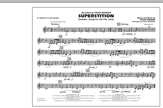 """Superstition (includes """"Living for the City"""" Intro) - Bb Horn/Flugelhorn (Marching Band)"""