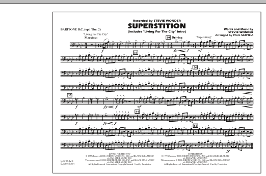 """Superstition (includes """"Living for the City"""" Intro) - Baritone B.C. (Opt. Tbn. 2) (Marching Band)"""
