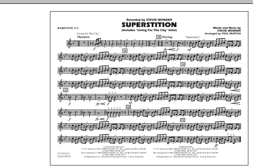 """Superstition (includes """"Living for the City"""" Intro) - Baritone T.C. (Marching Band)"""