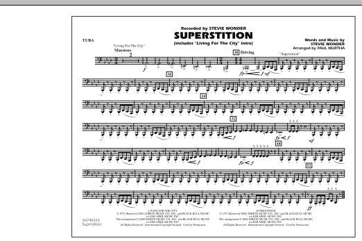 """Superstition (includes """"Living for the City"""" Intro) - Tuba (Marching Band)"""