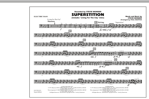 """Superstition (includes """"Living for the City"""" Intro) - Electric Bass (Marching Band)"""