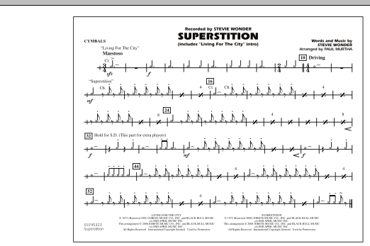 """Superstition (includes """"Living for the City"""" Intro) - Cymbals (Marching Band)"""
