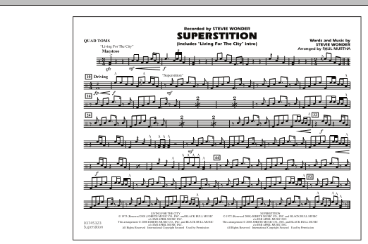 """Superstition (includes """"Living for the City"""" Intro) - Quad Toms (Marching Band)"""