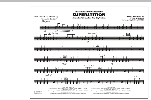 """Superstition (includes """"Living for the City"""" Intro) - Multiple Bass Drums (Marching Band)"""