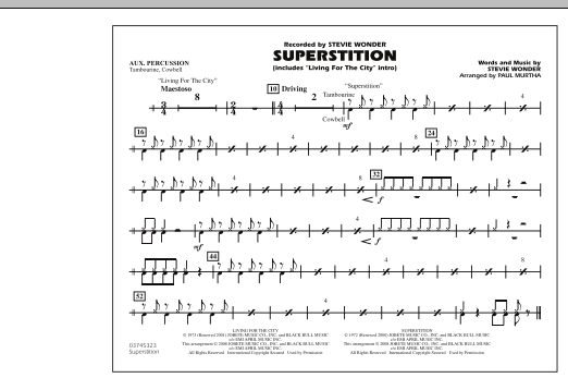 """Superstition (includes """"Living for the City"""" Intro) - Aux Percussion (Marching Band)"""