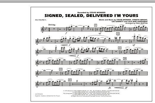 Signed, Sealed, Delivered I'm Yours - Flute/Piccolo (Marching Band)