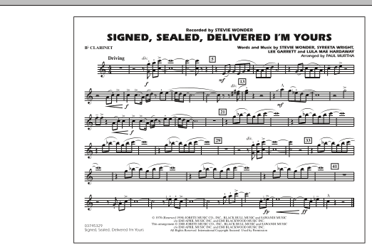 Signed, Sealed, Delivered I'm Yours - Bb Clarinet (Marching Band)
