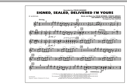 Signed, Sealed, Delivered I'm Yours - Eb Alto Sax (Marching Band)