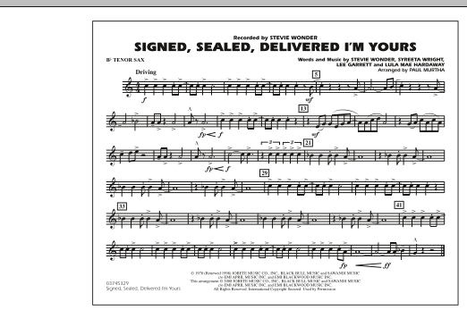 Signed, Sealed, Delivered I'm Yours - Bb Tenor Sax (Marching Band)