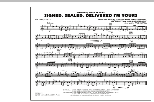 Signed, Sealed, Delivered I'm Yours - Eb Baritone Sax (Marching Band)