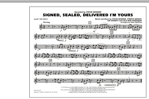 Signed, Sealed, Delivered I'm Yours - 2nd Bb Trumpet (Marching Band)