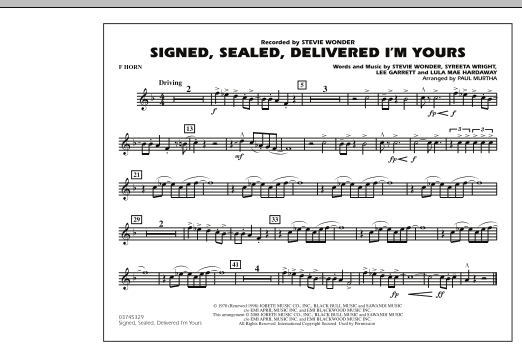Signed, Sealed, Delivered I'm Yours - F Horn (Marching Band)