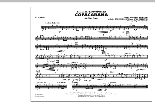 Copacabana (At the Copa) - Eb Alto Sax (Marching Band)