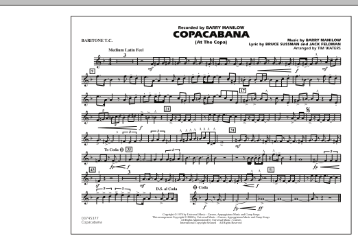 Copacabana (At the Copa) - Baritone T.C. (Marching Band)