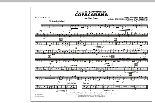 Copacabana (At the Copa) - Electric Bass (Marching Band)