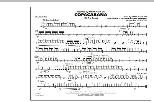 Copacabana (At the Copa) - Snare Drum (Marching Band)