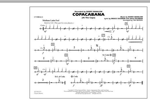 Copacabana (At the Copa) - Cymbals (Marching Band)