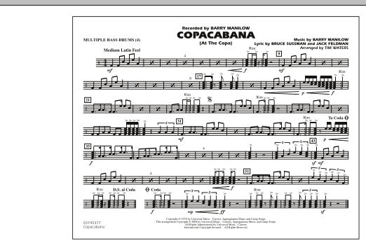 Copacabana (At the Copa) - Multiple Bass Drums (Marching Band)