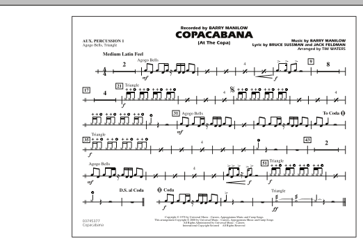 Copacabana (At the Copa) - Aux. Percussion 1 (Marching Band)