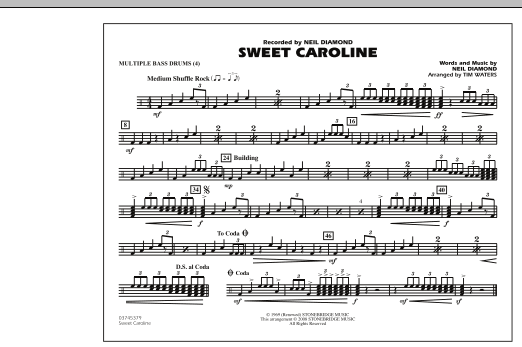 Sweet Caroline - Multiple Bass Drums (Marching Band)