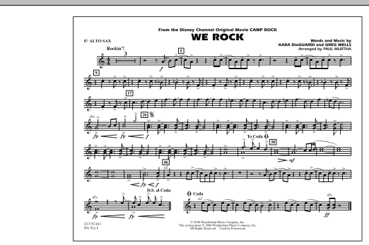 """We Rock (from Disney's """"Camp Rock"""") - Eb Alto Sax (Marching Band)"""
