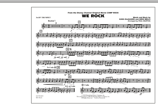 """We Rock (from Disney's """"Camp Rock"""") - 3rd Bb Trumpet (Marching Band)"""