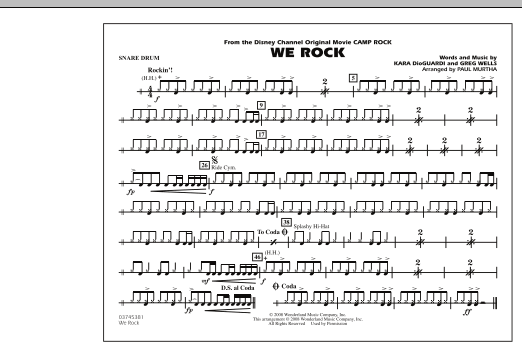 "We Rock (from Disney's ""Camp Rock"") - Snare Drum (Marching Band)"