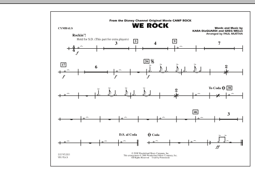 "We Rock (from Disney's ""Camp Rock"") - Cymbals (Marching Band)"