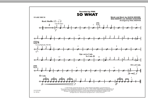 So What - Snare Drum (Marching Band)