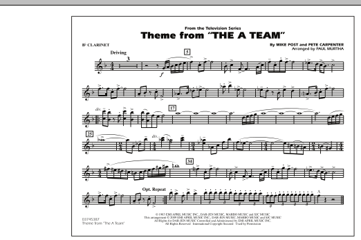 Theme from The A-Team - Bb Clarinet (Marching Band)