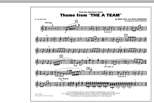 Theme from The A-Team - Eb Alto Sax (Marching Band)