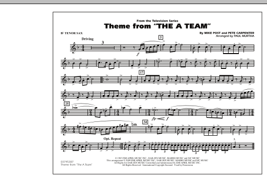 Theme from The A-Team - Bb Tenor Sax (Marching Band)