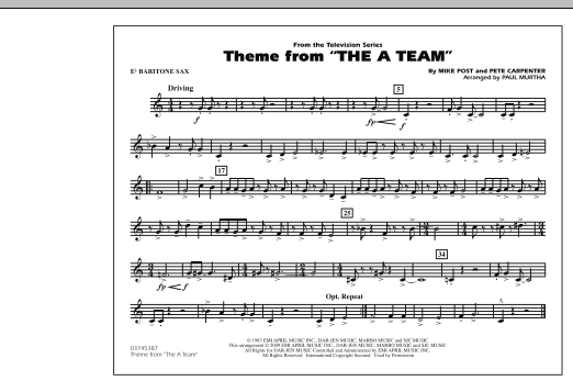 Theme from The A-Team - Eb Baritone Sax (Marching Band)