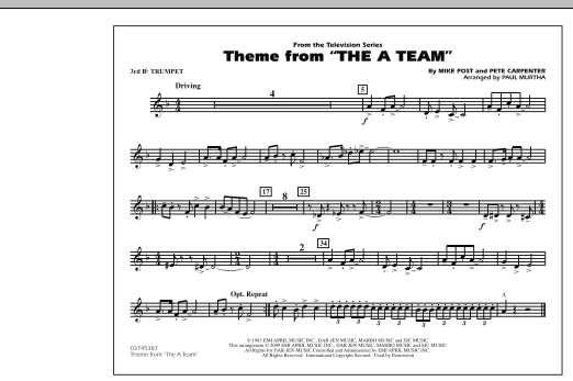 Theme from The A-Team - 3rd Bb Trumpet (Marching Band)
