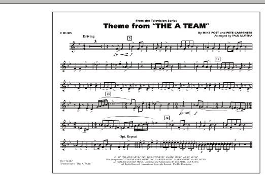 Theme from The A-Team - F Horn (Marching Band)
