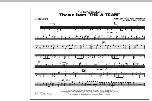 Theme from The A-Team - 2nd Trombone (Marching Band)