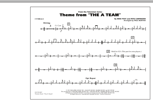 Theme from The A-Team - Cymbals (Marching Band)