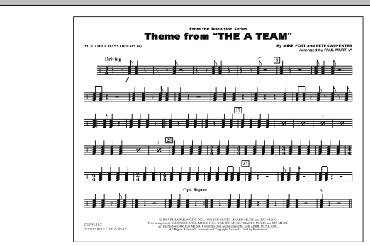 Theme from The A-Team - Multiple Bass Drums (Marching Band)